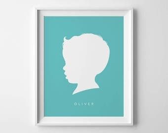 CUSTOM Silhouette, Child Silhouette, Personalized Portrait, Silhouette Portrait, Kids Silhouette, Printable Silhouette, Custom Portrait