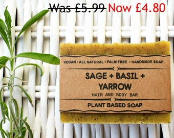 Sage Basil Herbal Natural Soap - Palm Free Soap, Handmade Soap, Cold Process Soap, Handmade Soap, Homemade Soap, Vegan Soap, Cruelty Free