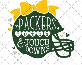 Packers, Tutus & Touchdowns - SVG, Vector, DXF, EPS, Digital Cut File, Silhouette, Cricut, Girls Football, Touch down, Greenbay Green bay