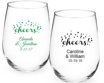 24 pcs - Cheers Personalized 9oz Stemless Wine Glass - Party Favors -JM218773-9OZ