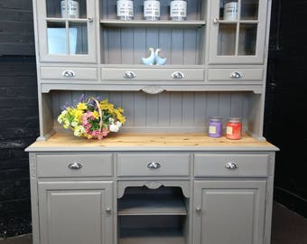 SOLD JAYCEE Solid Pine Large Welsh Dresser - French Linen Annie SLOAN - Shabby Chic