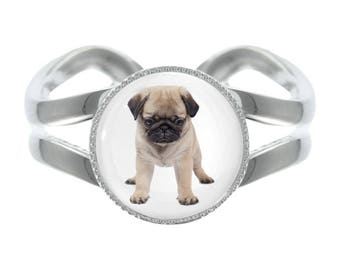 Pug Puppy Image Silver Plated Adjustable Ring