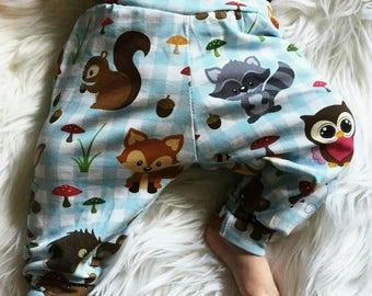 Baby leggings, 3-6 months baby Girl, animal, animal, forest