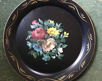 Vintage round black with flowers TOLE Tray