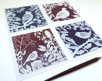 Winter Birds - Pack of 4 papercut birds and foliage greetings cards
