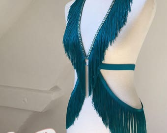 Burlesque Shimmy Fringe Harness Belt Onepiece Dance Teal