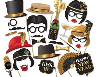 Gatsby Photo Booth props, New Year's party - Roaring 20s Photobooth. 1920 New Year 2017 props. Instant Download printable props - 0208