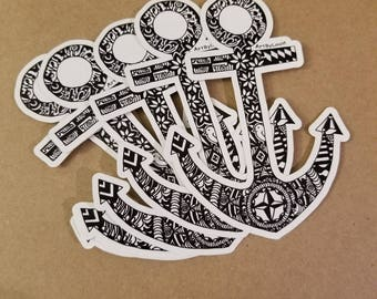 Anchor die cut decal vinyl 3 x 4 inches Maryland nautical themed