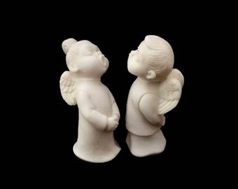 G Ruggeri, Hand Carved Alabaster, Pair of Singing Choir Angels, Signed G R, Italy