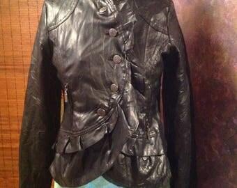 Black faux leather cropped jacket with ruffled detail rocker jacket. Boho vegan jacket medium