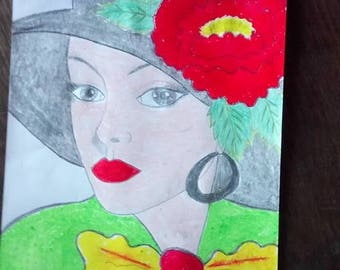 drawing woman in Hat