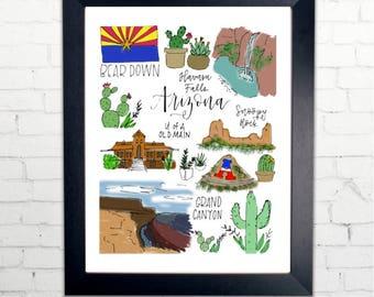 Arizona State Print with Calligraphy and drawings | 8x10 Printable | University of Arizona, Grand Canyon, cactus, Havasu Falls, Bear Down