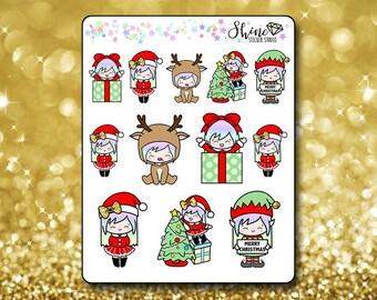 Luna Christmas Stickers - Planner Stickers Erin Condren Life Planner Cute Emoji Holiday Character Girl Stickers ECLP Stickers Happy Planner