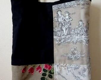 Cotton Toile de Jouy Patchwork Tote/Shopping bag - unique piece