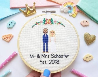 Personalized Cross Stitch Gift - Cotton Wedding Anniversary Gift - Engagement Cross Stitch - Gift For Him - Traditional Wedding Gift