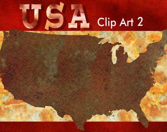 USA Clip Art - Rust and Green - High-Resolution Transparent PNG