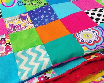 Custom Bright patchwork cotto and minky throw blanket. Custom blanket/throw. Minky soft.