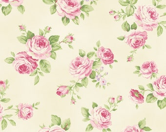 Shabby Chic Cream Rose Cotton Fabric