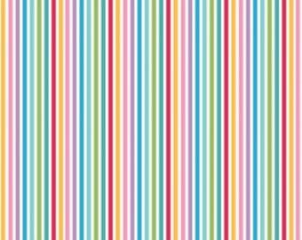 Multi Coloured thin tent stripes Cotton Fabric