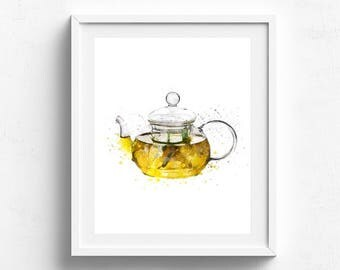 Tea Kettle Print Kitchen poster teapot decor Watercolor painting art Chalkboard kitchen Kitchen Art Kitchen wall art Tea time Drink Print