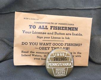 1955 Pennsylvania Fishing License Badge Pin with Envelope Nice!