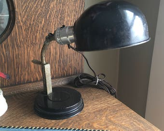 Metal Helmet Desk / Wall Lamp Leviton Light Switch Vintage Mid Century Lighting