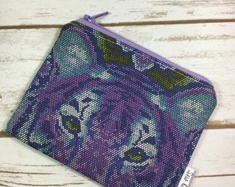 Coin pouch, coin purse, change purse, tiger fabric, Tula Pink Eden fabric, purple poufh, fabric pouch, zipper pouch, ID wallet
