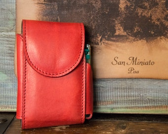 Cigarette pack holder with lighter door-real leather-red-gift ideas-Made in Italy