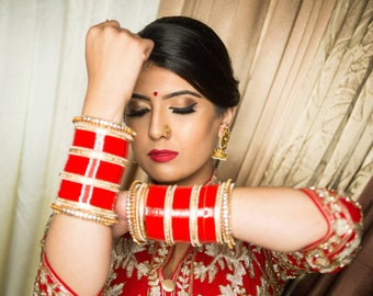 Traditional Red Bridal Choora for Indian Bride - Indian Bridal Jewelry, Red Indian Bangles, Indian Jewelry, Red Bridal Chura, Red Choora