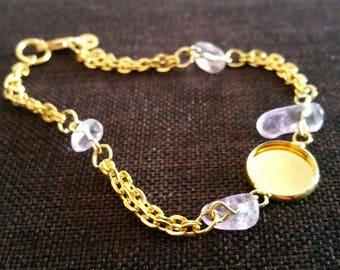 semi precious! gold plated Amethyst bracelet holder