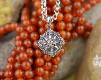 Dharmachakra Handmade pendant. Dharma Wheel. Buddha Wheel. Wheel of Dharma. Buddism. Tibetan buddhism. Buddhist. Tibet. Bhutan. Nepal.