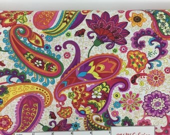 Paisley Fabric, Colorful Paisley Fabric by the yard, Fat Quarter, Quilting Fabric, Apparel Fabric, 100% Cotton Fabric, P-1