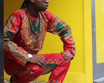 Dashiki Outfit - African Suit - Wax Print Shirt - Colourful Pants - African Two Piece - African Top - Festival Clothing - Festival Shirt