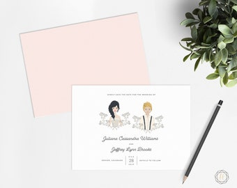 Save the Date, Save the Date Card, Illustrated Save the Date, Save the Dave Portrait, Save the Date Printable, Photo Save the Date, #ITP
