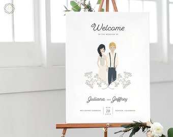 Wedding Welcome Sign, Welcome Wedding Sign, Welcome Sign, Illustrated Welcome Sign, Couples Portrait, Wedding Illustration Sign, #ITP