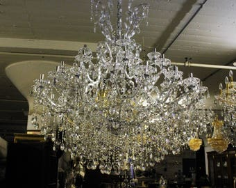 BEAUTIFUL!! Silver Ballroom Chandelier with Genuine Faceted Crystals - 35 Lights