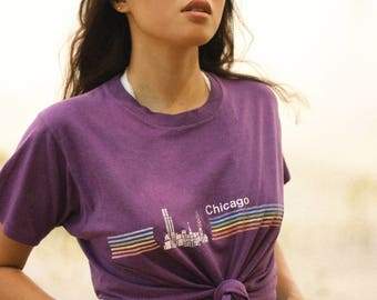 Vintage Purple Chicago T-Shirt with Rainbow Stripes