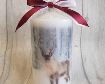 Christmas deer/stag printed pillar candle
