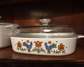 Vintage Corning Lidded Casserole- Country Festival 2 1/2 Quarts
