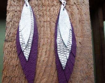 feather earrings, leather earrings, violett gold silber, Boho jewelry, Boho earrings, leather feathers, leather jewelry