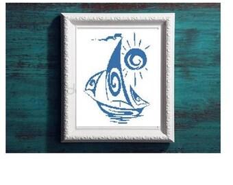 Blue sailboat silhouette cross stitch pattern in pdf