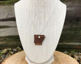 Arkansas Necklace, Arkansas State Necklace, Wooden State Necklace, Arkansas Jewelry,  Personalized Gift, Going Away Gift
