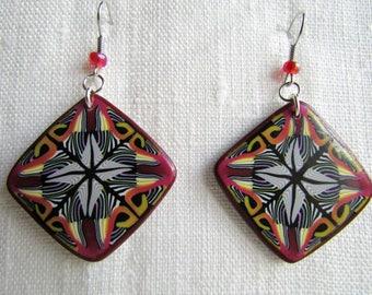 Kaleidoscope polymer clay earrings