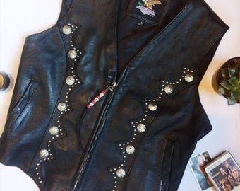 Vintage black leather studded zip up vest