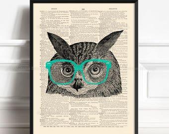Wise Owl Print, Kids Room Owl, Siblings Art Gift, Geeky Glasses, Christmas Gifts, Owl Geek, Girls Nursery, Vintage Home Gallery 209