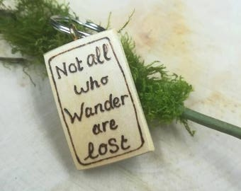 Natural wood keyring with saying