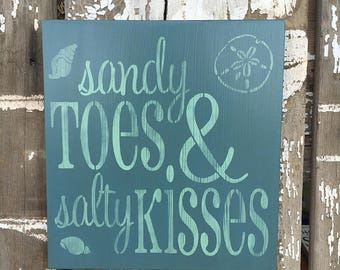 Sandy Toes And Salty Kisses, Cute Beach Quote, Beach Wedding Gift, Made To Order