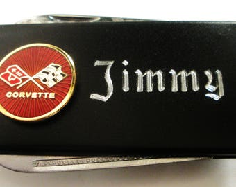 Corvette C3 Black Matte Money Clip with Pen Knife & Nailfile in Body of Clip-Free Engraving