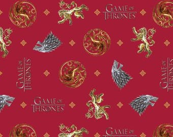 HBO Game of Thrones You Win or You Die from Springs Creative woven cotton, fabric woven, red, yardage