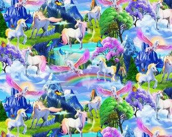 Magical Garden Unicorns cotton from Timeless Treasures C5433-MLT  magical unicorns rainbows quilting cotton by metre yard fantasy yardage